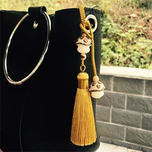 20pcs 4,3 Zoll Handgemachte Seidige Floss Mini kleine Handwerk Quasten mit 2-Zoll-Kabel Schleife und Kleinen Chinesischen Knoten für Ohrringe, Souvenir, Lesezeichen, DIY (Champagner)