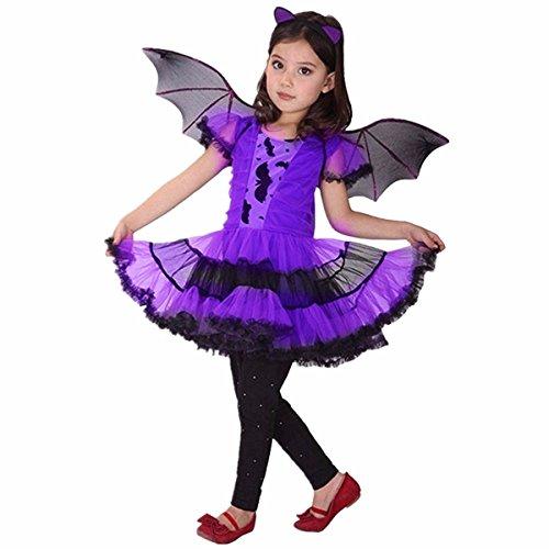 Kostüm Fledermaus Für Flügel Muster - iiniim Mädchen Fledermaus Fairy Halloween Karneval Kostüm Cosplay Partei Abendkleid Kinderkostüm Lila M 104-110/4-5 Jahre