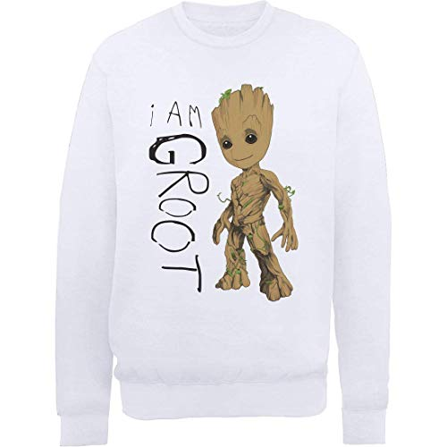 Marvel Herren Guardians of The Galaxy Vol.2 I Am Groot Scribbles, Weiß (White Wht) L-Sweatshirt, Large