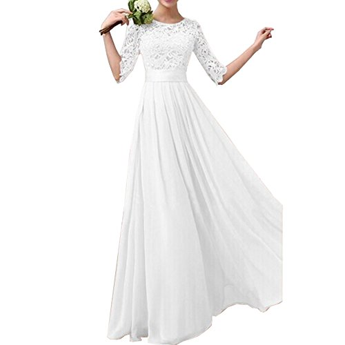Uranus Store Women Crochet Half Sleeve Crochet Lace Top Wedding Bridesmaid Gown Prom Dress