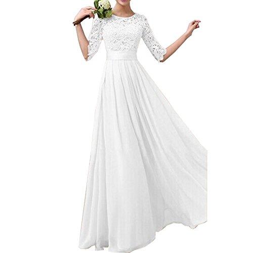 Uranus Damen Spitzen Spleiß Chiffon Bodenlänge Maxikleid Braut Brautjungfer Hochzeitskleider Weiß