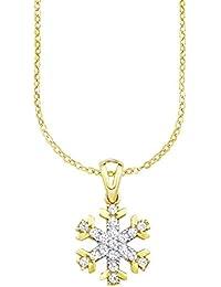 amor Damen-Kette mit Anhänger Schneeflocke 333 Gelbgold Zirkonia weiß 45 cm-538169