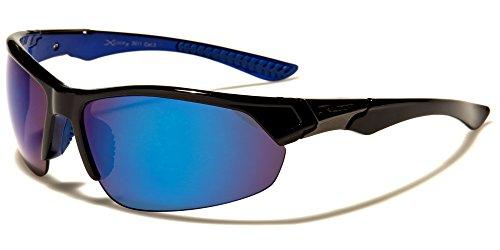 Sport Sonnenbrille Damen Herren Schwarz Blau verspiegelte Gläser in Blau X-Loop
