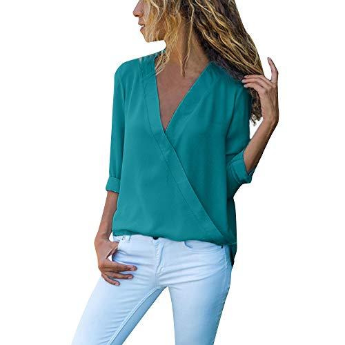 BHYDRY Frauen Casual Wrap V-Ausschnitt Roll Up Langarm Solid Blusen Shirt Tops T-Shirt(EU-38/CN-M,Grün)