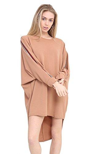 Janisramone - Top à manches longues - Manches Longues - Femme Noir * taille unique Camel