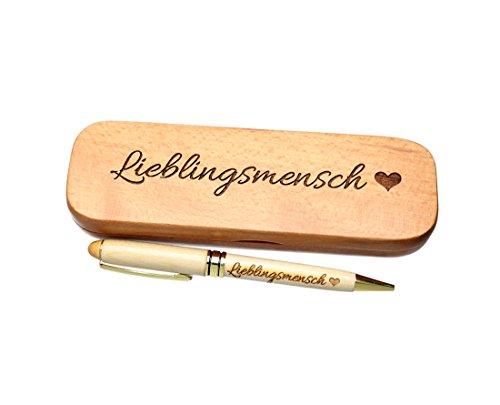 Kugelschreiber mit Gravur Lieblingsmensch in Geschenk-Schachtel aus Holz die Geschenkidee Stift graviert