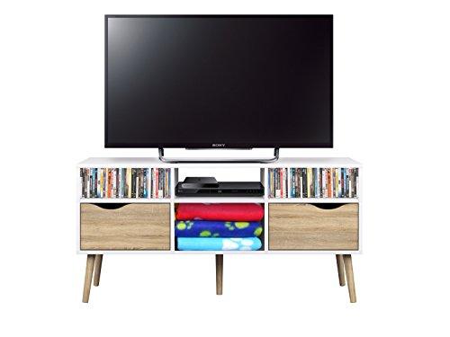 esidra 75391Delta Mobile TV, 2cajones, folio y melamina, blanco, 117.1X 39.1x 57.6cm