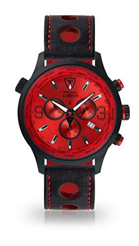 DETOMASO AURINO Montre pour Hommes Chronographe Chronographe Analogique Quartz Noir Bracelet Cuir Rouge Cadran Rouge DT1061-B-836