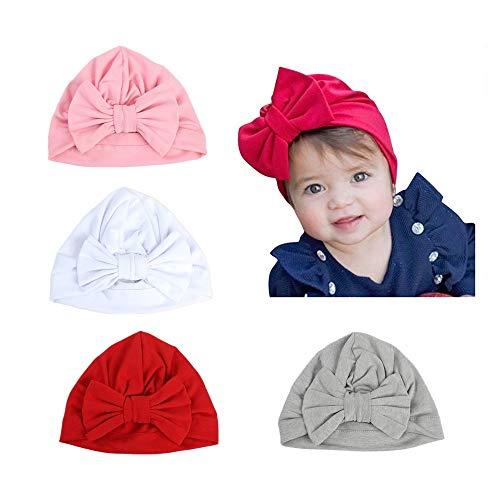 CANSHOW 4 Stück Baby Mütze für Mädchen weiche Bio-Baumwolle Niedlich Babymützen für Kleinkind