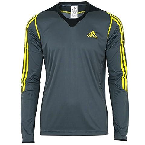 adidas Herren Langarm Funktionsshirt Longsleeve Präsentations Shirt (grau-gelb, 52 (L)