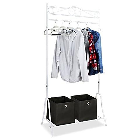 HOMFA Kleiderständer Kleiderstange Garderobenständer mit Schuhablage Schwarz Metall Antik 90*44*176cm