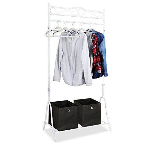 HOMFA Kleiderständer Kleiderstange Garderobenständer mit Schuhablage Schwarz Metall Antik 90*44*176cm (Weiß)