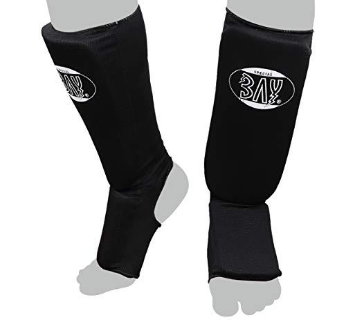 BAY MT Cotton schwarz XS Spann-Schienbeinschutz Baumwolle Elastik Stoff, Muay Thai, TKD, Thaiboxen schwarz, Größe XS