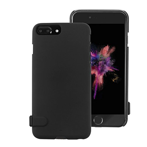 OKCS Akku Case für Apple iPhone 6 Plus Ladegerät Akkuhülle Hardcover Slim Charging Battery 2000 mAh Powerbank Backup Aufladbare Schutzhülle Batterie - in Schwarz Matt (Pluscases Iphone Sechs)