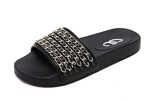 SHINIK Femmes Sandales Open Toe Metal Chaîne Couverture Toe Flat Slippers Mules Black Black