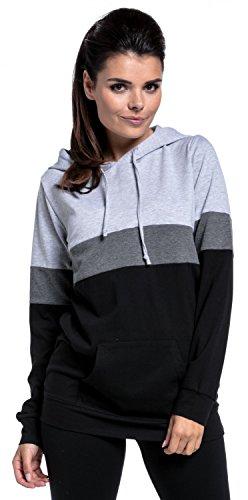 Zeta Ville - Still-Sweatshirt Farbblock Kapuze Top Kängurutaschen - Damen - 503c Lichtgrau Melange & Graphit Melange & Schwarz