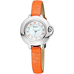 Alienwork Quartz Watch stylish Wristwatch elegant nacre Leather white orange YH.KW515S-01
