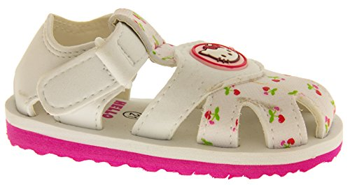 Hello Kitty Sangatta Sangle Velcro Orteil Fermé Sandales Filles Sandales Blancs