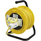 PowerMaster 868878 Cable Reel 110V Freestanding 2 Socket 16A 25m