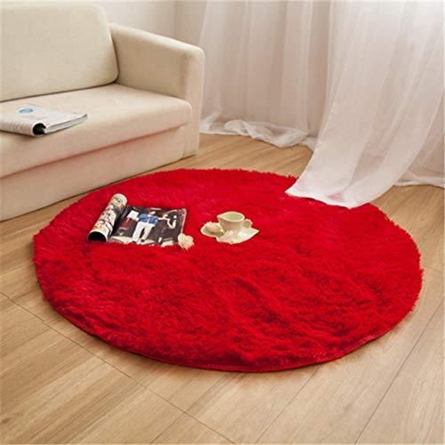 LAMEDER Wohnzimmer Teppich,Schlafzimmer Wohnzimmer Nicht verblassen, Flusen, umweltfreundliche Kinderzimmer, Dicke runde Flauschige Teppich, rot, 160 × 160 cm