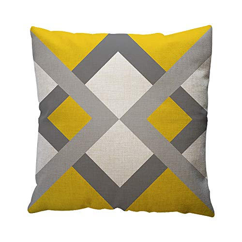 JiaMeng Funda de cojín de Almohada, Patrón geométrico Amarillo Throw Pillow Case Cushion Funda de Almohada geométrica Simple 45cm x 45cm