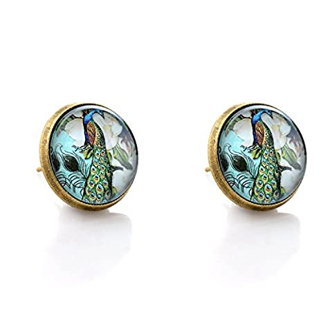 lureme® Vintage Bijoux Temps Gem Series Paon Flowers Antique Bronze Stud boucles d'oreilles for Women and Filles (02004901)