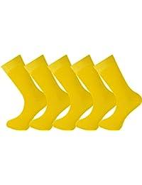 Mysocks® para hombres y mujeres Paquete de 5 pares de calcetines de color liso peinados de algodón