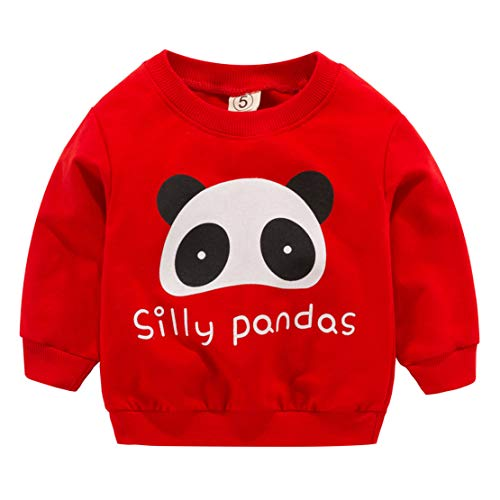 d Kind Baby Boy Kleidung Langarm Cartoon gedruckt t-Shirt Tops (Rot, 18-24 Months-11) ()