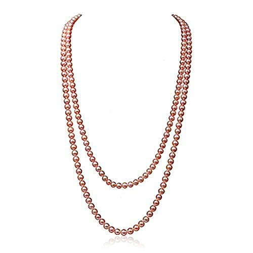 JYX Perlenkette Lange 8 mm natur Pink Rund Süsswasser perlenkette 120cm
