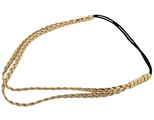 BONAMART ® Damen Mädchen Hippie Geflochten Doppelschicht Leder Stirnband Haarband