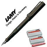 Lamy Safari–Pluma estilográfica, color tierra de sombra mate, pluma estilográfica F, color Umbra F Mit roten Patronen