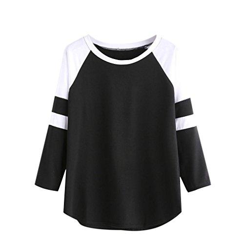 Chemisier femme , Transer ® Vêtements femme lâche longtemps Splice pull Casual chemise Blouse à manches Noir