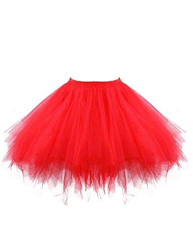 BeiQianE Frauen 50er Jahre Vintage Petticoat Multi-Layer-Short Unterrock rutscht Krinoline Ballett Bubble Tutu Rock (Rock Layer-petticoat)