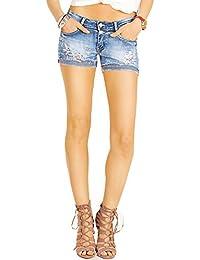 Bestyledberlin Damen Jeans Hotpants, Mini Shorts, Zerrissene Jeansshorts, Kurze Hosen j17k