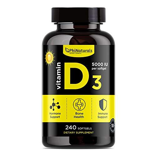 Vitamina D3 Cápsulas de 5000 UI. 240 cápsulas de Vitamina D de Alta Potencia (5000 UI) en aceite de oliva extra virgen para mayor absorción