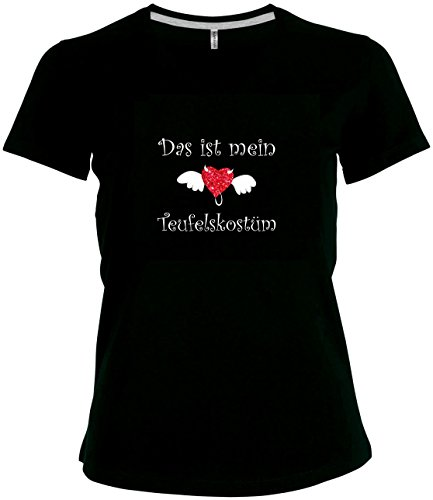 elegantes Damen Shirt Spruch Das ist mein Teufelskostüm T-Shirt Karneval Fasching Teufel mit Evil Heart , (Eleganter Teufel Kostüme)