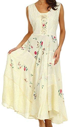Sakkas 22311 Garten-Göttin-Korsett-Art-Kleid - Ivory - 1X / 2X (Viktorianische Tee-kleid)