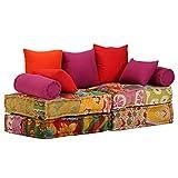 vidaXL Schlafsofa 2-Sitzer Modular Stoff Patchwork Schlafcouch Sofabett Sofa