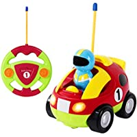 SGILE Remote Control Police/Racer Car Music Light - RC Cartoon Toy Birthday Gift Kids Toddlers, Red
