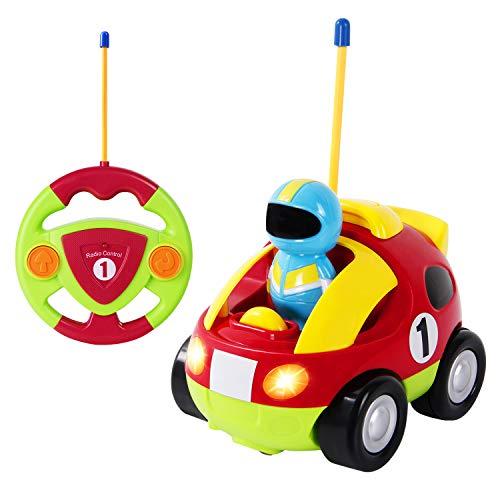 TONOR RC Zug Polizeiwagen Traktor Ferngesteuertes Spielzeugauto Cartoon Wagen für Kinder Rot