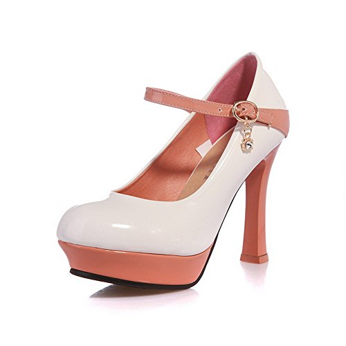 AgooLar Damen Lackleder Schnalle Rund Zehe Hoher Absatz Gemischte Farbe Pumps Schuhe Weiß