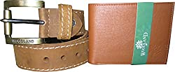 woodland Wallet and Wood Land Mens Camel Brown Genuine Leather Casual Belt for Men ( Size: 36 )