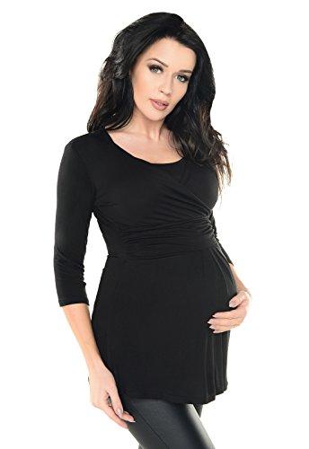 Purpless Umstandsmode Damen 2in1 Umstands und Stilltop Stillshirt Tunika Stillbluse Diskreten Stillen 7049 (38, Black) 3/4 Sleeve Maternity Wrap