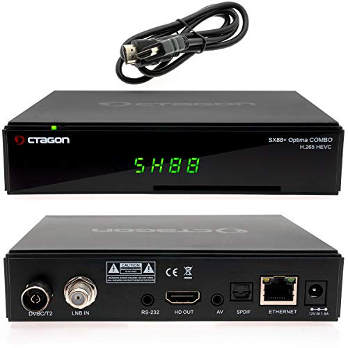 Octagon SX88+ Optima Combo H265 Multistream HD Satelliten Sat-Receiver mit DVB-C/T2 Tuner