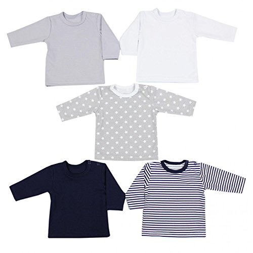 TupTam Baby Jungen Langarmshirt 5er Set, Farbe: Farbenmix 1, Größe: 56