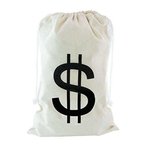Prevently Tasche große Leinwand Geld Tasche Kordelzug geschlossen und Dollar Zeichen Brief Design weiß einfach (A) -