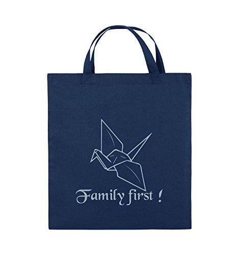 Comedy Bags - Family First Origani - PRISONBREAK - Jutebeutel - kurze Henkel - 38x42cm - Farbe: Schwarz / Silber Navy / Eisblau