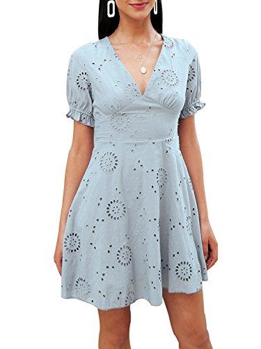 a2c0e67f4a5222 Terryfy Damen Sommer Kleid A-Linie V-Ausschnitt Stickerei Kurz Baumwolle  Dress Mit Volant Ärmel Grau