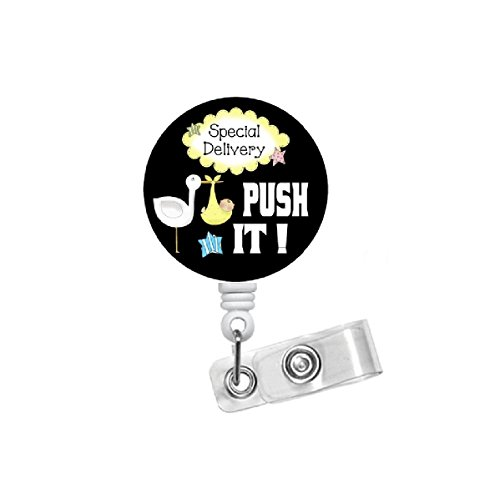 The Badge Shack Push It Stork Badge Reel - Labor and Delivery Nurse - Special Delivery Badge Holder - Nursing Badge Reel - Name Badge Holder - OB Badge Clip - Push-reel