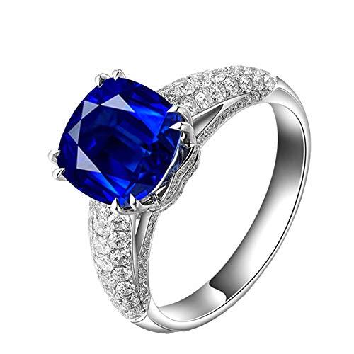 AnazoZ Echtschmuck Damen Ring 18K Weißgold Solitärring 1.66 Karat Saphir Breit Verlobungsring Trauringe für Frauen Goldring 750 Echtgold (Saphir Ring Gelbgold Plattiert)